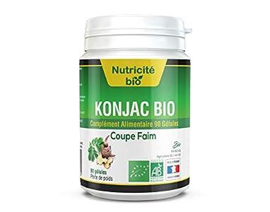 Supresor del apetito Konjac Bio 545mg - Nutricite-Bio-90 cápsulas - Una ayuda eficaz para adelgazar a corto plazo - Desintoxicante Konjac para adelgazar - El mejor producto orgánico certificado AB