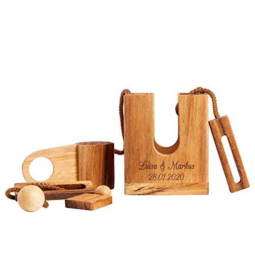 Casa Vivente Flaschenpuzzle aus dunklem Holz mit Gravur – Personalisiert mit Namen, Datum oder Wunschtext – Geschenke für Weinliebhaber