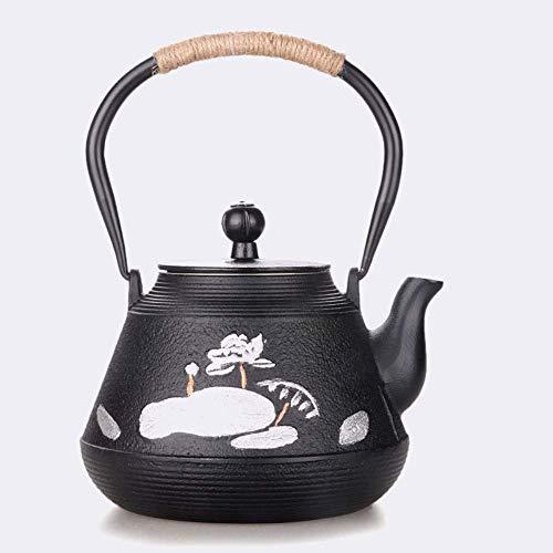 BXU-BG Cast Iron Iron Lotus Goldfish Iron Pot Cast Iron Tea Set Cooking Oxidation Film Inner Wall with Filter 1.2L