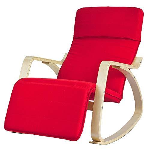 SoBuy® sillón de relada, Silla de relada, mecedora,rojo, FST16-R,ES (Rojo)