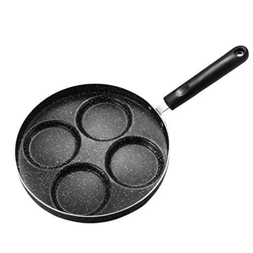 YARNOW Sartén de Tortilla Antiadherente 24Cm 4 Agujeros Sartén de Hierro Huevo Pizza Sartén de Panqueque Maifanita Bandeja de Piedra para Cocinar en La Cocina