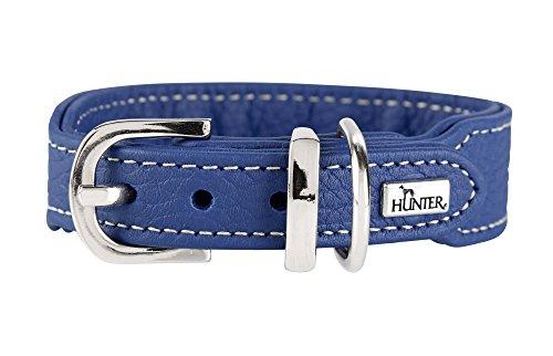 HUNTER CANNES MINI Hundehalsband für kleine Hunde, Leder, Nappaleder, weich, edel, elegant, 32 (XS), blau