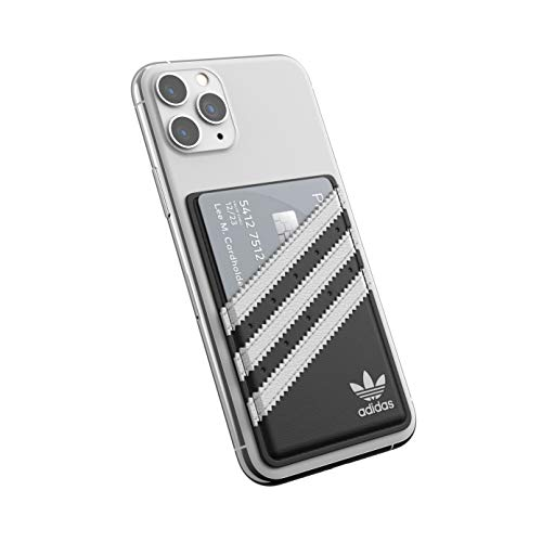 adidas Originals Handytasche, Kartenhalter, PU-Leder, für Universal-Smartphones, Schwarz und Weiß