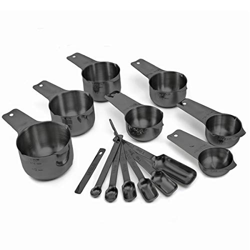 2lbDepot Black Measuring Cups & Spoons Set of 14, Premium Stainless Steel Metal, 7 Accurate Measuring Cups, 6 Measuring Spoons, 1 Leveler, Dry & Liquid Ingredients for Kitchen Baking & Cooking