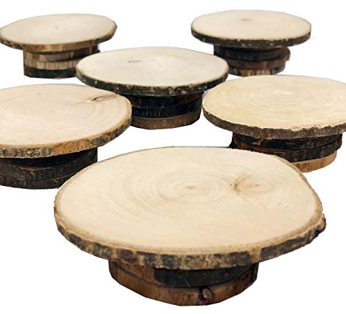 Set of 6 Mini Wooden Rustic country style Cupcake dessert stand dish
