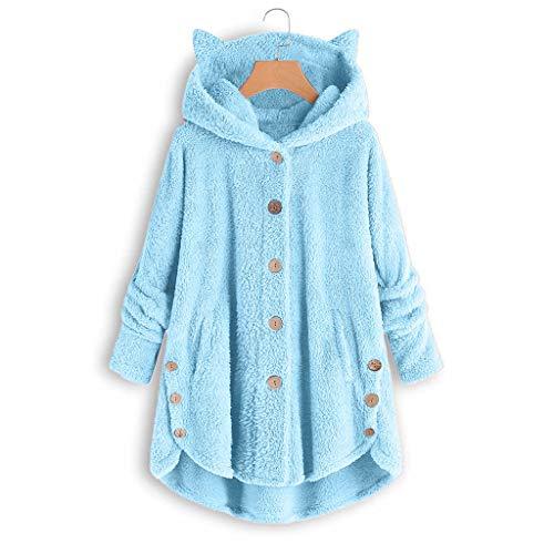 YANFANG Abrigo para Mujer Chaqueta Abrigo cálido Caliente y Esponjoso Flannel Tipo Manta Talla Grande de Invierno con Bolsillo con Capucha de Felpa (Blue21, XXXL)