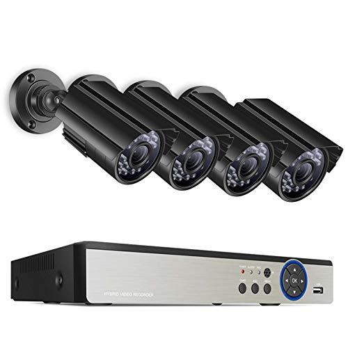 HYF Sistema de vigilancia 8CH 5MP CCTV Sistema de cámara DVR 4PCS Vigilancia a Prueba de Agua a Prueba de Agua Día y Noche DIY Sistema de videovigilancia Kit (Color : Black)