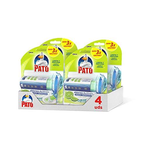 PATO Discos Activos WC, Limpia y Desinfecta, 1 Aplicador + 1 Recambio, Lima, 4 Unidades