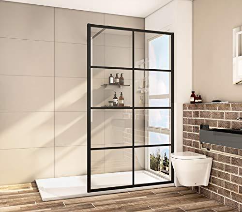 Bath-mann Duschwand Glas Duschabtrennung 120cm (Höhe: 200 cm) Walk-in Dusche Duschkabine mit Stabilisator aus Echtglas 8mm ESG-Sicherheitsglas Klarglas Nanobeschichtung - Schwarzes Fenster