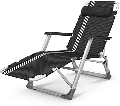 Sillas de jardín reclinable reclinable Gravedad Cero, Chaise Tumbona Plegable Cubierta Impermeable for Ligera en Patio al Aire Libre Playa Campamento, Negro, H015ZJ
