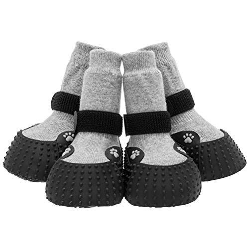KOOLTAIL Dog Socks Anti Slip Paw Protectors 2 Pairs - Traction Control for Hardwood Floors Waterproof Adjustable Straps for Medium Large Dogs Outdoor Wear in All Season