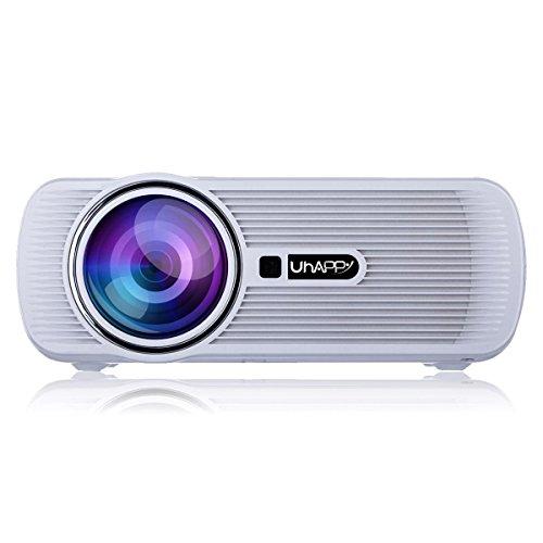 UHAPPY W-LAN HD Mini Beamer Andrews 6.0 Bluetooth 1080P 20.000 Stunden LED-Leben , white