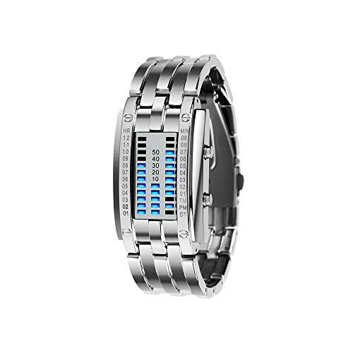 FeiWen Unisex Binär Digitale Silber Edelstahl Uhren Fashion Casual Stil Eckig Zifferblatt Blau LED Litch Einzigartig Armbanduhren Kalender Sportuhr (Damen)