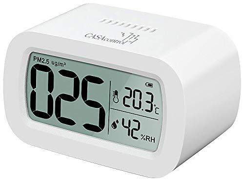 CASAcontrol Luftqualität: PM2,5-Feinstaub-Messgerät mit Temperatur- und Luftfeuchtigkeitsanzeige (Raumluft Messgeräte)