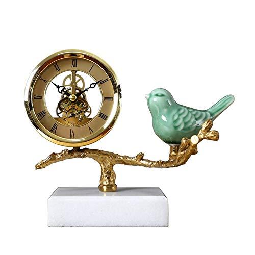 Reloj digital Reloj de metal de escritorio simple / reloj de manto, reloj de mesa creativo y adorno exquisito, adecuado para regalos de cumpleaños (verde / blanco) Despertador Digital ( Color : A )