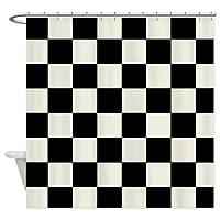 市松模様の生地のシャワーカーテン、白黒 150x180 cm