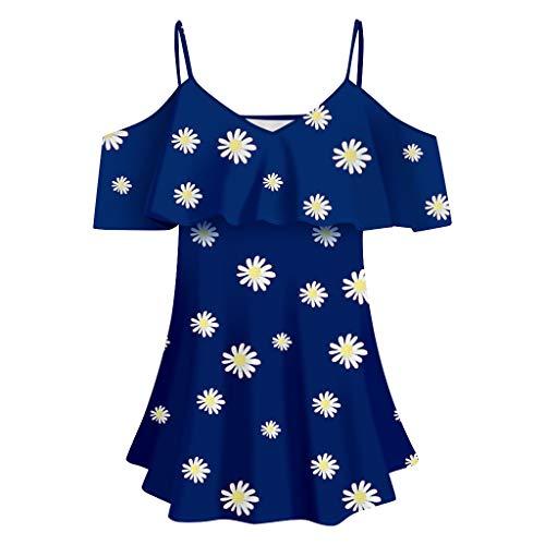 Fantastic Prices! 7 Women's Blouse Ruffles V-Neck Cold Shoulder Shirt Daisies Printing Short Sleeve ...