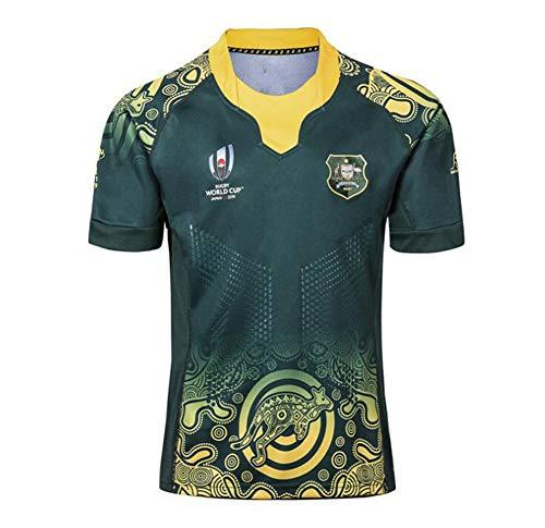 BFZHYMX 2019 Weltmeisterschaft Rugby Jersey Rugby-Trikot Australian Home/Away Für Männer Kurzarm-Freizeit-T-Shirt,A,XXXXL