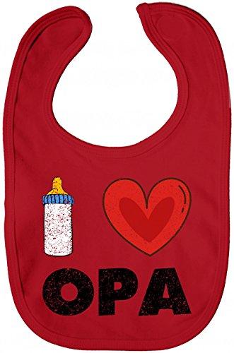 Shirt Happenz I Love Opa Lätzchen Baby Milch Neugeboren Sabberlätzchen Baby-Lätzchen, Farbe:Rot (Red BZ12);Größe:OneSize