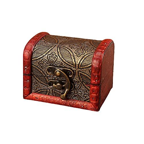 Dreafly Mini Cajas de Almacenamiento de Cofre del Tesoro de Madera con Motivo Floral Decorativo Caja de Almacenamiento de joyería de Madera Vintage Hecha a Mano con Cerradura de Metal para Pendiente
