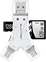 SD Card Reader for iPhone / ipad / Android / Mac / Computer / Camera,4 in1 Micro SD Card Reader Trail Camera Viewer, Portable Memory Card Reader SD Card Adapter Compatible with SD and TF Cards(White)