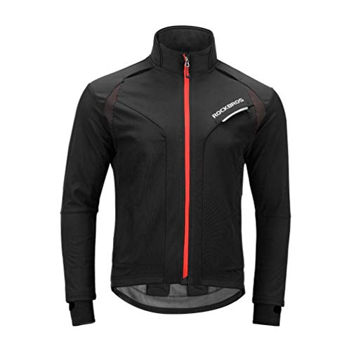 ROCK BROS Cycling Jackets for Men Winter Bike Jackets Thermal Windproof Jacket for Men Cold Weather Cycling Running Hiking Black...