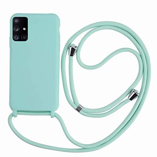 2ndSpring Funda con Cuerda Compatible con Samsung Galaxy A71 4G,Colgante Collar Correa de Cuello Cadena Cordón,Silicona Suave Menta Verde