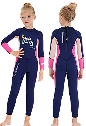 Gogokids Kids Wetsuit Girls Neoprene Swimsuit, Children 2.5mm Thermal Rash Guard Warm Thicken Swimwear Sun Protection Diving Snorkelling Suit UV 50+, Pink+Blue L
