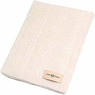 100% Merino Wool Blanket Knitted by NordSnow Anti-Allergic and Very Soft, Made in Europe (Cream)