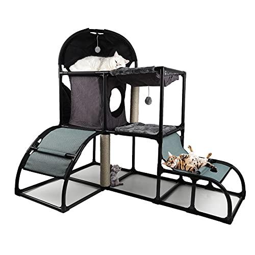 Tiragraffi per Gatti Albero   Gatti grandi   Kitten Climbing Tower-Centro attività per gatti con amaca (rimovibile&robusto-Grigio)