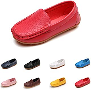 E-FAK Toddler Boys Girls Loafer Shoes Soft Synthetic Leather Slip On Moccasin Flat Boat Dress Shoes(Toddler/Little Kid/Big Kid)