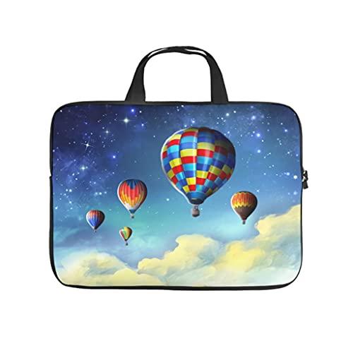 Facbalaign Bolsa para portátil con diseño de cielo estrellado, nube, globo aerostático, para hombre y mujer, impermeable, suave, resistente al desgaste, con asa.