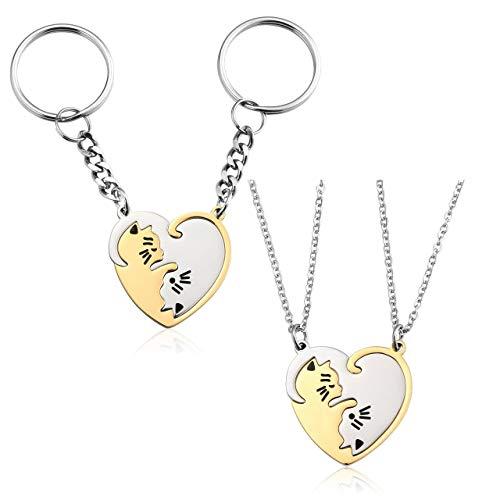 PiercingJ Porte-Cl/és Couple Chat Blanc Noir Gravure Personnalis/ée Keychain Pendentif Puzzle S/éparable Amour Amoureux Acier Inoxydable Argent Cadeau de la Saint-Valentin