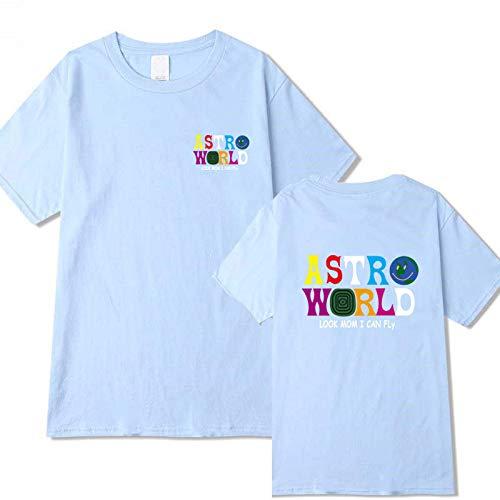 JJZHY Travis Scott T-Shirt AstroWorld T-Shirt à Manches Courtes col Rond avec Lettres pour Hommes et Femmes,Bleu Ciel,XL