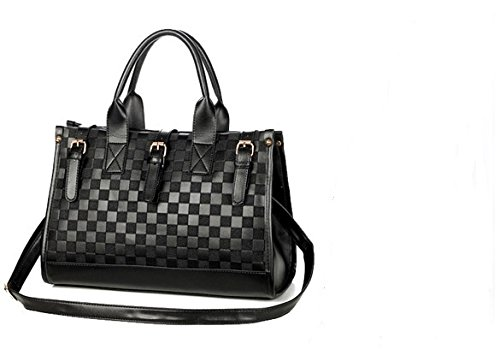 Lmeno Borsa delle donne Borsa in pelle sintetica in PU Spalla delle donne del sacchetto Pacchetto Business OL Borsa Pendolari Satchel Fashion Messenger Bag Lady breve caso Ufficio Design elegante cinghia regolabile casual Simple Style - Nero