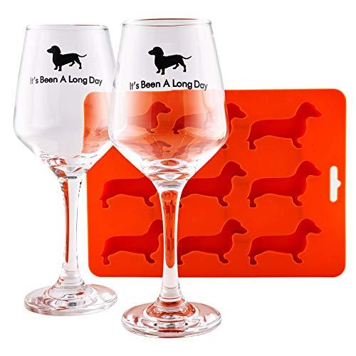 "Dachshund themed Gift Set with 2 dachshund wine goblets""It"