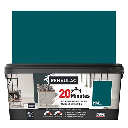 RENAULAC Peinture intérieur couleur monocouche 20 Minutes murs et boiseries - Bleu canard Mat - 2,5L - 25m²