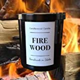 FIREWOOD - Authentic Wood Fireplace Scent - Cotton Wick - Candle in Black Jar with Lid 12 oz Best Seller Since 2012