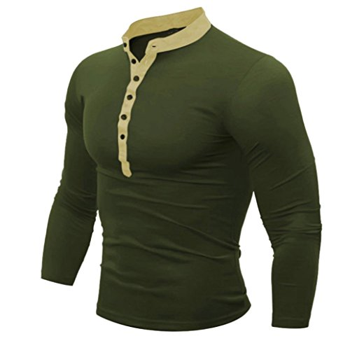 FNKDOR Hommes Printemps Automne T-shirt en coton Hommes T-shirt en couleur solide à manches longues (Armée verte, XXXL)