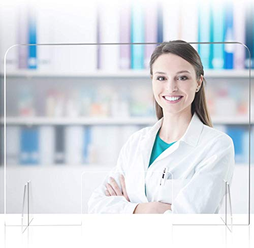 Cinsey Plexiglass da Banco Parasputi 91.4 * 81.2cm Barriere Plexiglass da Banco Pannelli Divisori per Farmacie, Uffici, Negozi,Supermercati e Bar