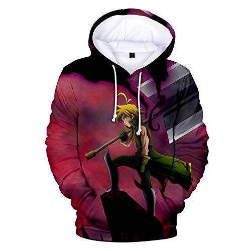 cyxb Sudadera con Capucha Manga Larga Jersis,The Seven Deadly Sins of Japanese Anime 3D Print Hoodie Sports Casual Pullover Sudadera con Capucha-GRAMO_XXXL