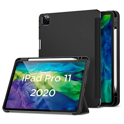 """ESR Hülle kompatibel mit iPad Pro 11"""" 2020 mit Pencilhalter, Rebound Pencil iPad Hülle mit weicher Flexibler TPU Rückseite, Auto Schlaf-/Weckfunktion und vielseitigen Ansichtsstandmodi - Schwarz"""