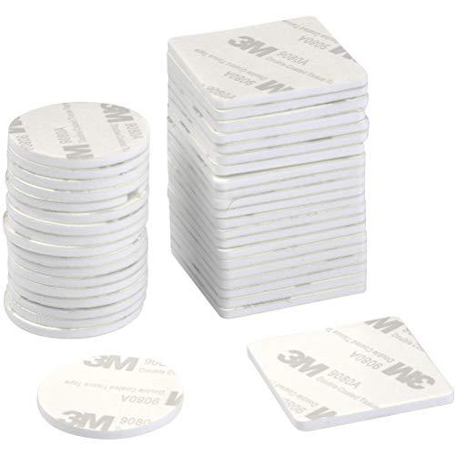 DODUOS 150 Stück Doppelseitige Klebepads Extra Stark Selbstklebend, Doppelseitige Schaumstoff-Pads Quadratisch und Rund für Wände Boden,Türen,Kunststoffe,Gläser und Metall (Weiß)