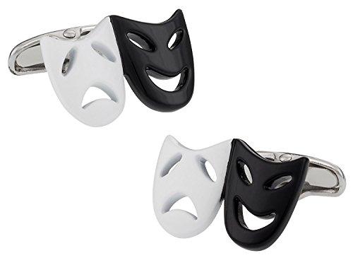 Teatro máscara gemelos en color blanco y negro con caja de regalo