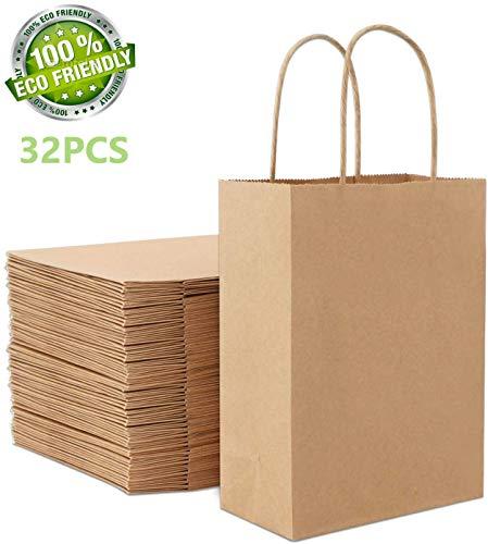 LATERN 32 Stück braune Kraftpapiertüte, Papiertüten aus Kraftpapier, Geschenktüte mit Griff. Geburtstagsfeier, Geschenk, Restaurant zum Mitnehmen, Einkaufen (27 * 20 * 11cm)
