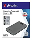Verbatim Executive Fingerprint Secure HDD - 2TB - Grigio - Hard disk esterno con lettore di impronte digitali - USB 3.1 GEN 1 - per Windows & Mac OSX - Hard disk portatile - USB-C 53653