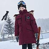YHWW Chaqueta de Plumas,-30 Degree Winter Boys Down Jacket Hooded Girls Winter Coat 5-14 Years Kids Teenage Snow Outerwear,Red,5