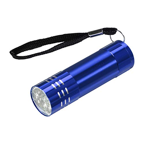 sourcing map UV Mini 9 LED Aluminium Lampe de poche Cordon AAA Batterie Pas Inclus Bleu