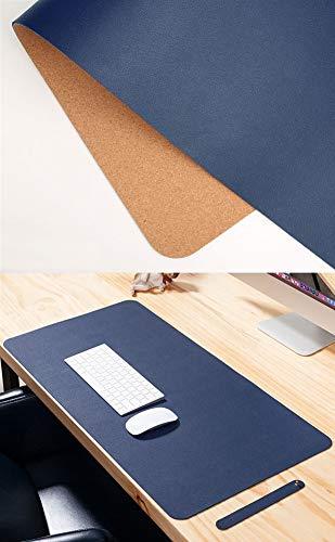 Insun Wielofunkcyjna podkładka na biurko do biura ultra cienka wodoodporna skóra PU i korek podkładka pod mysz podwójne zastosowanie mata do pisania na biurko granatowa 60 x 30 cm