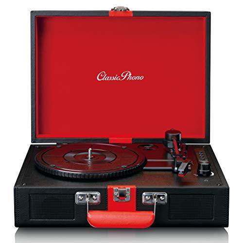 Classic Phono by Lenco TT-110 Plattenspieler - Kofferplattenspieler - 33, 45 und 78 RPM - Bluetooth - Riemenantrieb - 2 Lautsprecher - AUX-IN, RCA-Out, 3,5mm - Schwarz/Rot